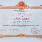 Tổng giám đốc nhận Bằng khen của Chủ tịch UBND tỉnh Thanh Hóa trao tặng vì đã có thành tích xuất sắc trong học tập và làm theo tấm gương đạo đức Hồ chí Minh giai đoạn 2011-2015